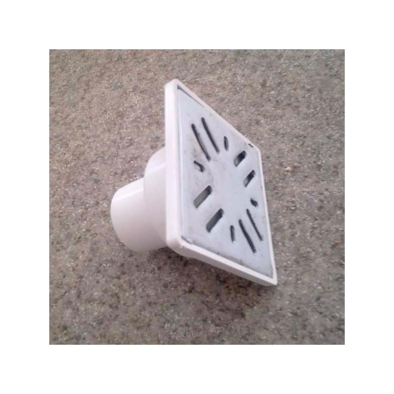 Трап канализационный прямой с сухим сифоном d-50 (15х15 решетка)