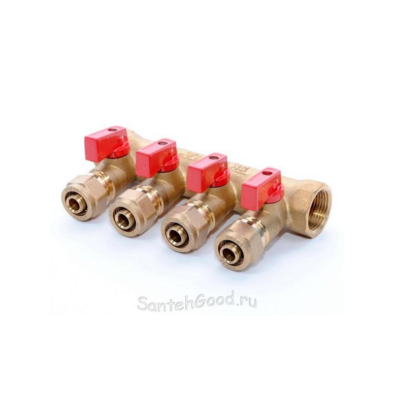 Коллектор для отопления 1″ х 20 х 4 выхода с кранами (красный) TIM