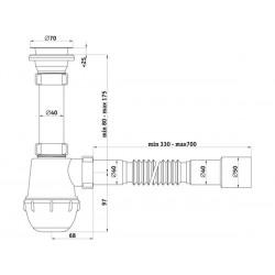 Сифон пластмассовый для мойки Ани Грот 1 1/2″ *40 с гибкой трубой 40* 40/50 A0115-1