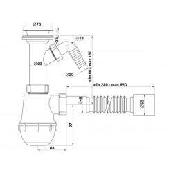 Сифон пластиковый для мойки Ани Грот 1 1/2″ *40 с отводом для стиральной машины с гибкой трубой 40 *50 A2010-1