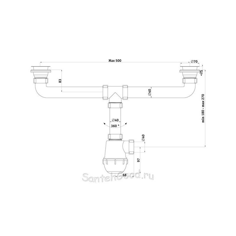 Сифон пластмассовый Ани Грот 1 1/2″ *40 на две мойки A3000-1