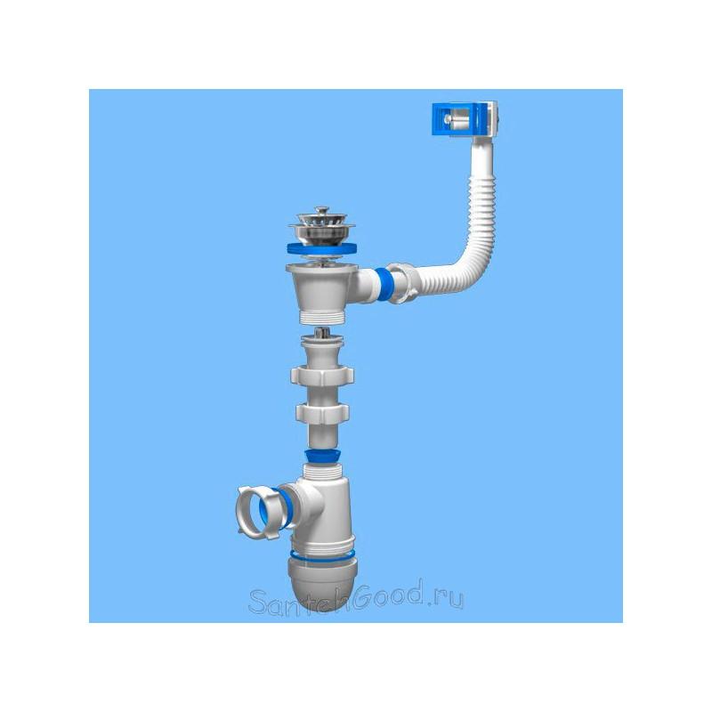 Сифон пластиковый для раковины (мойки) Ани с переливом C0150