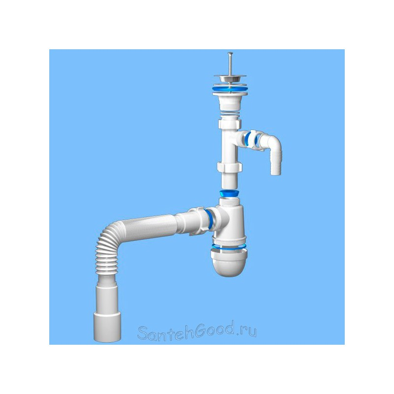 Сифон пластиковый для раковины Ани 1 1/4″ *40 с отводом для стиральной машины с гибкой трубой 40 *40/50 C1315