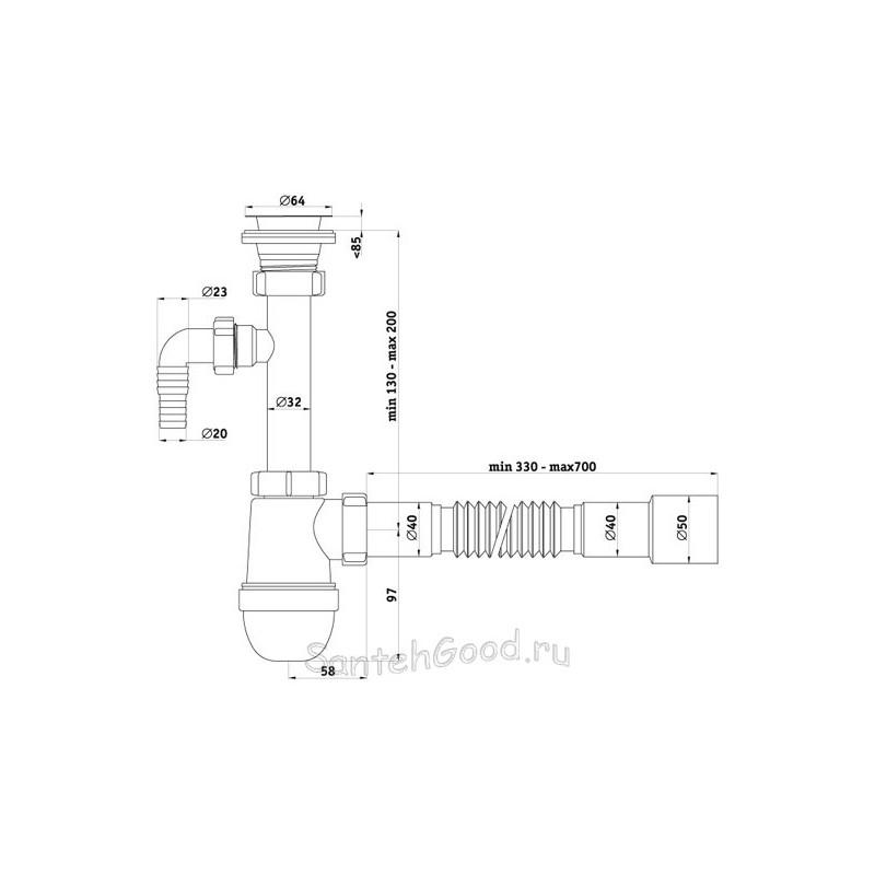 Сифон пластиковый для раковины Ани 1 1/4″ *40 с отводом для стиральной машины с гибкой трубой 40 *40/50 C1315-1