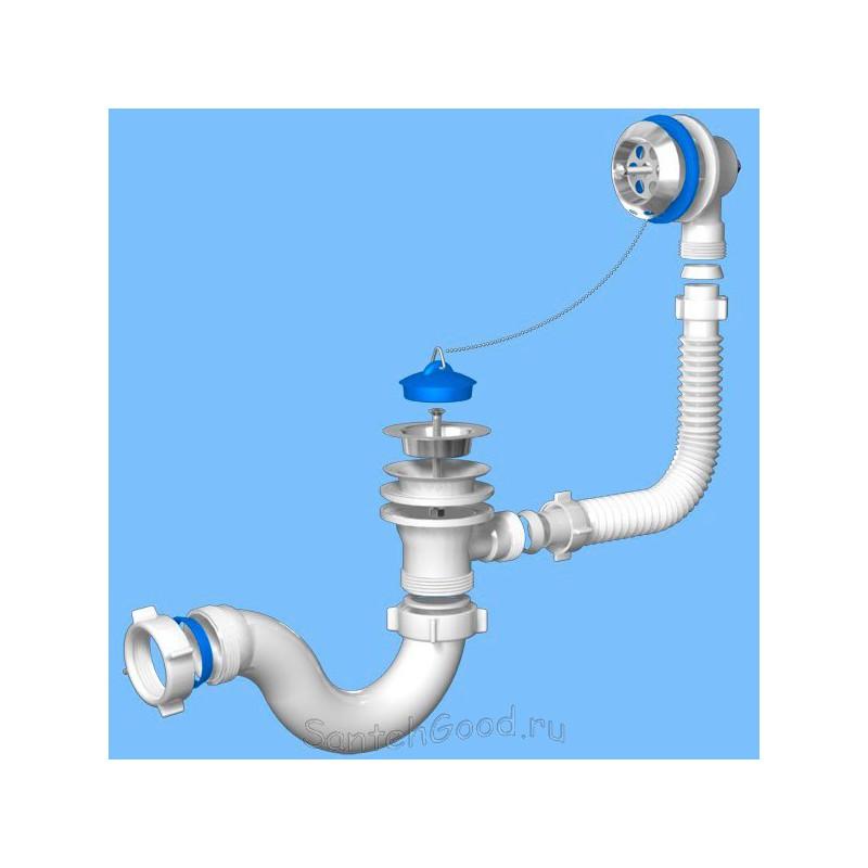 Сифон для ванны с выпуском и переливом Ани 1 1/2″ E150