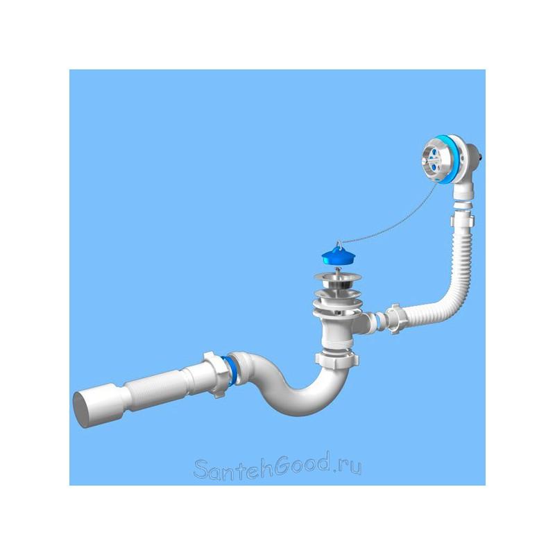 Сифон для ванны с выпуском и переливом Ани 1 1/2″ с гибкой трубой 40 *50 E155