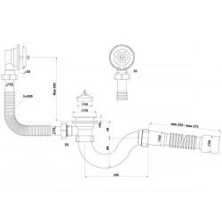 Сифон для ванны с выпуском и переливом Ани 1 1/2″ с гибкой трубой 40 *50 E155-1