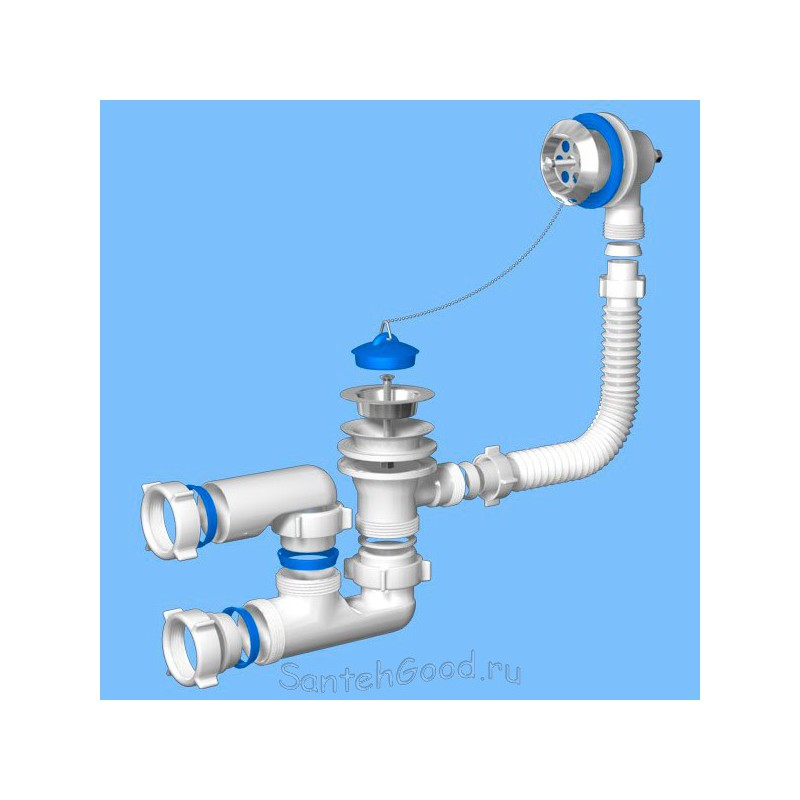 Сифон для ванны регулируемый с выпуском и переливом Ани 1 1/2″ E250