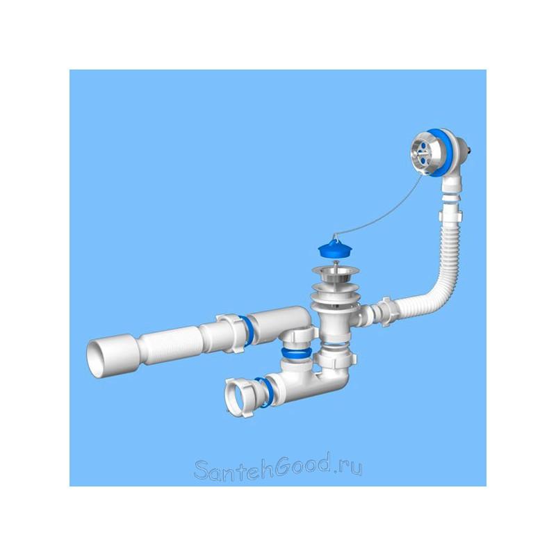 Сифон для ванны регулируемый с выпуском и переливом Ани 1 1/2″ с гибкой трубой 40 *50 E255