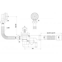 Сифон для ванны регулируемый с выпуском и переливом Ани 1 1/2″ с гибкой трубой 40 *50 E255-1