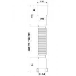 Гибкая труба Ани Пласт 1 1/2″ *40/50 удлиненная K116-1