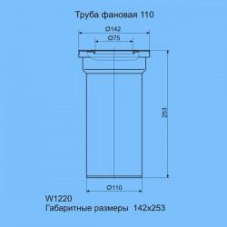 Труба фановая для унитаза пластиковая Ани Пласт прямая W1220-1