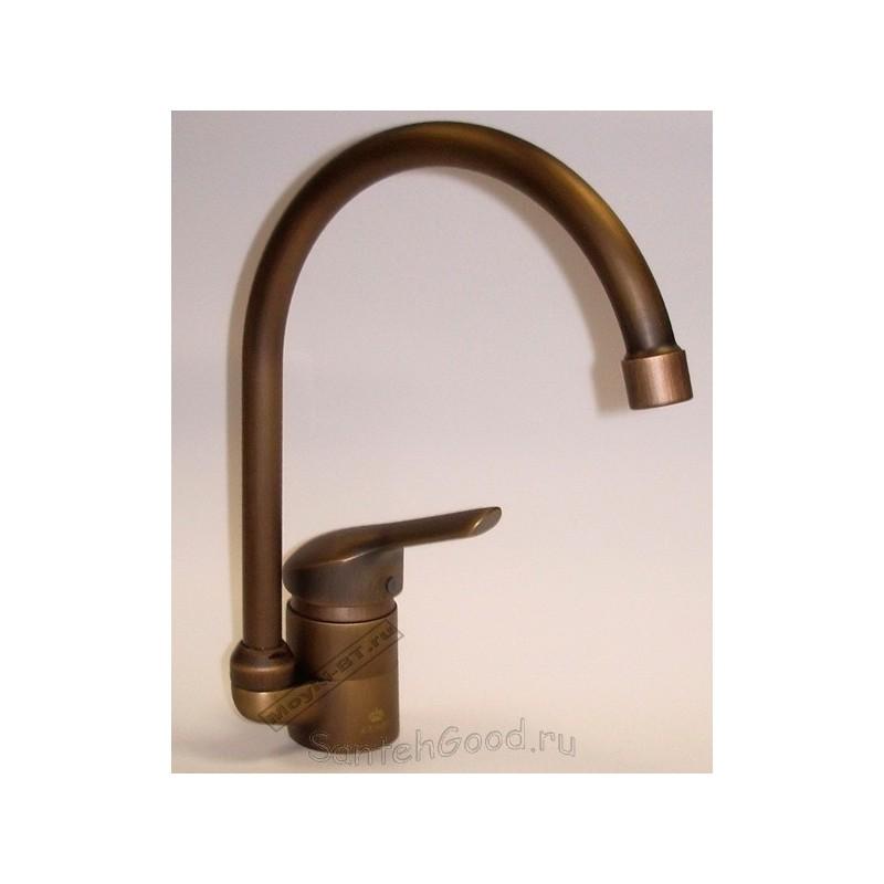 Смеситель для кухни однорычажный KAISER ATHLETE ANTIQ 19044 бронза