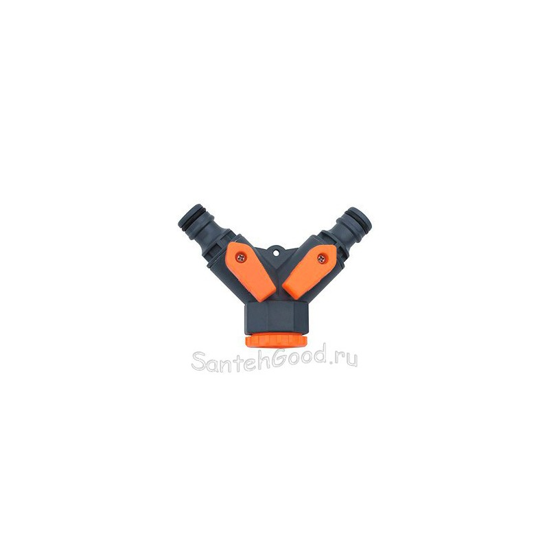 Разветвитель на кран двухканальный 1/2″ х 3/4″ для полива, мягкий пластик