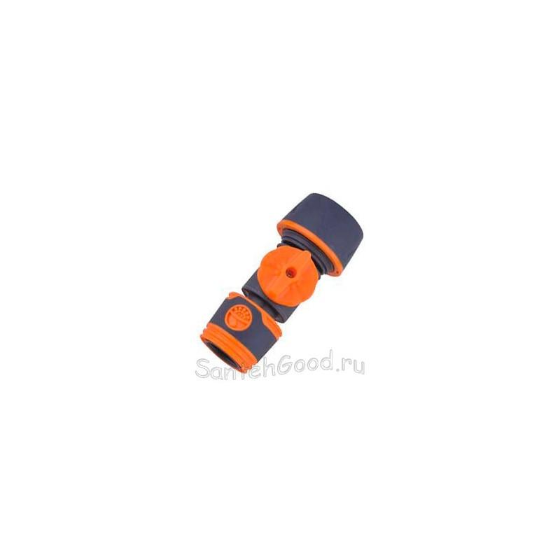 Коннектор с вентилем универсальный 3/4″ для полива, мягкий пластик