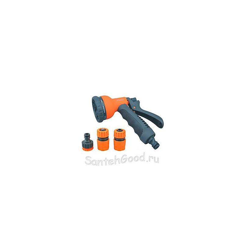 Набор поливочный (пистолет 8 режимов, коннектор 1/2″, коннектор с аквастопом 1/2″, штуцер 1/2″х3/4″)