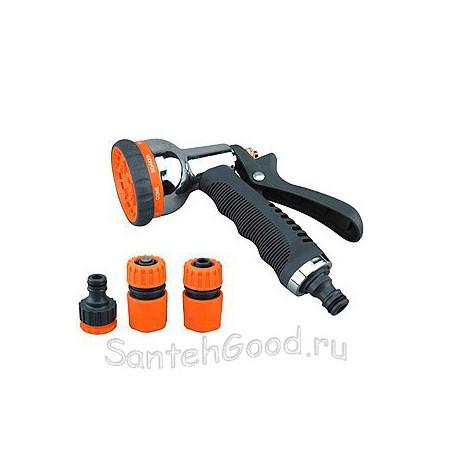 Набор поливочный (пистолет металлический 8 режимов, коннектор 1/2″, коннектор с аквастопом 1/2″, штуцер)