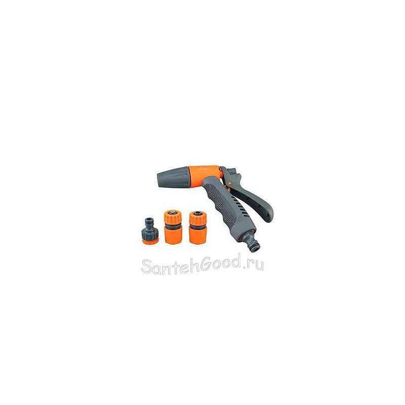 Набор поливочный (пистолет разбрызгиватель 1 режим, коннектор 1/2″, коннектор с аквастопом 1/2″, штуцер)